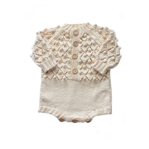 Organic cotton hand knit baby Kimbell romper