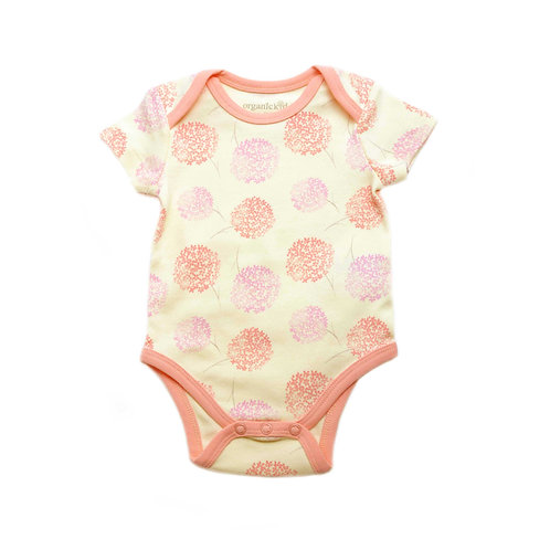 Organic Cotton Baby Bodysuit Pink Bloom