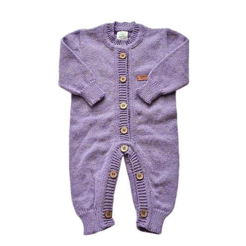 Organic merino wool hand knit baby jumpsuit lavender