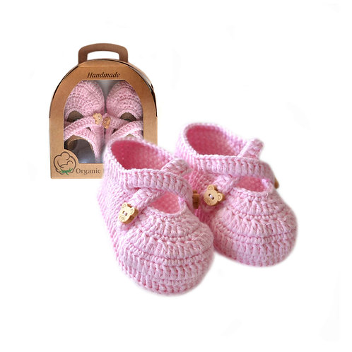 Organic cotton handmade crochet baby shoes with straps pink