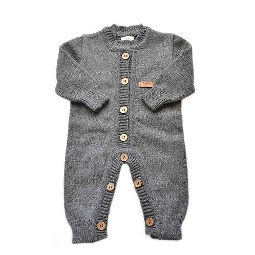 Organic merino wool hand knit baby jumpsuit gray