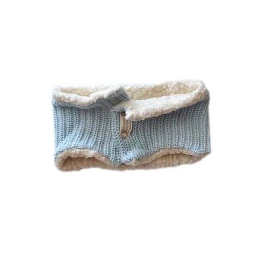 Organic cotton hand knit neck warmer blue