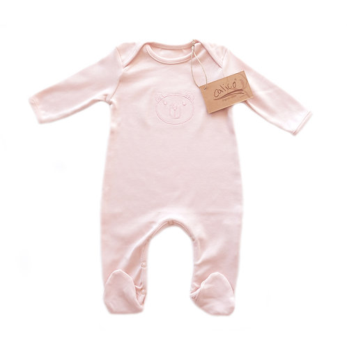 Organic cotton baby jumpsuit bear embroidery powder pink