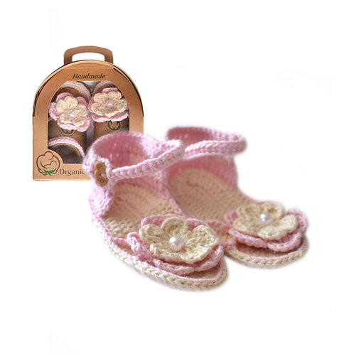 Organic cotton handmade crochet baby sandals (pink)
