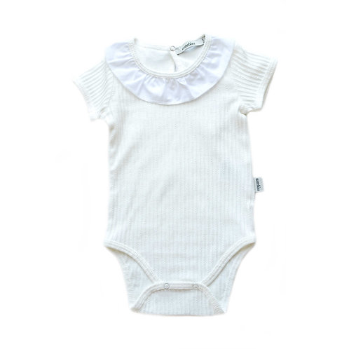 Organic Ribbed Cotton Baby Bodysuit with Ruffles