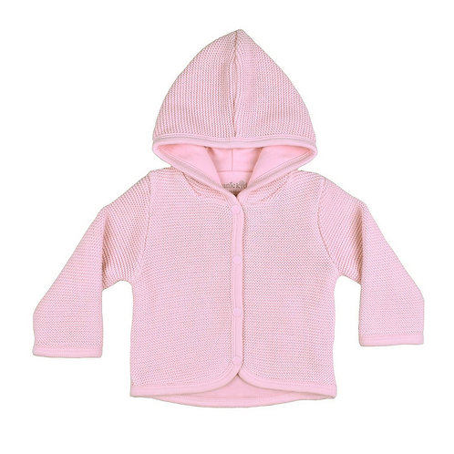 GOTS certified Organic cotton hooded cardigan pink