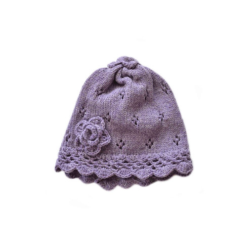 Organic merino wool hand knit beanie with flower