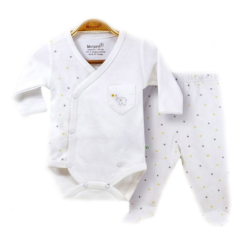 Organic cotton body & pants set with elephant embroidery
