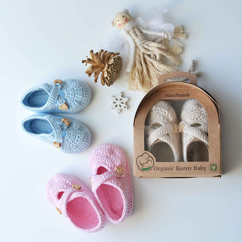 Organic Cotton Handmade Baby Shoes with Straps