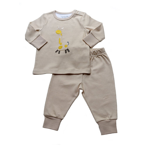 Organic cotton pyjama set with safari embroidery