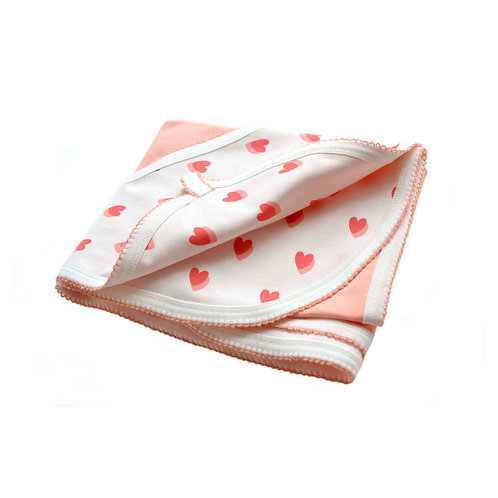 Organic cotton blanket with hearts pattern