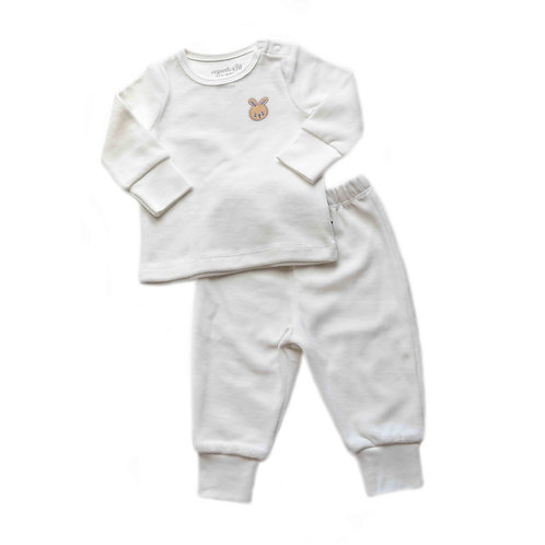Organic cotton velvet pyjama set with bunny embroidery