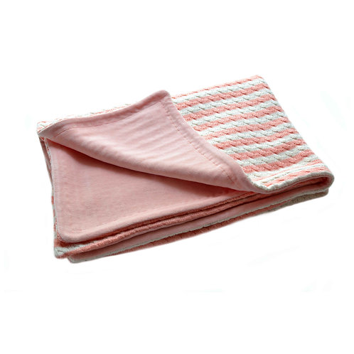 Coperta neonato rosa in velluto di cotone organico