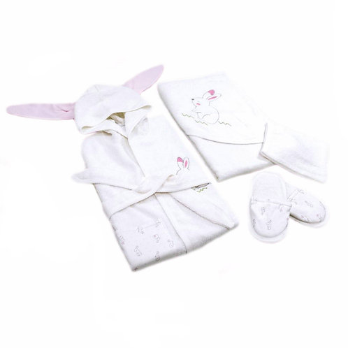 Bunny girl organic cotton 4-piece bathing set