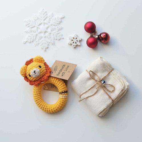Organic Cotton Lion Teether & Muslin Burp Cloth Set