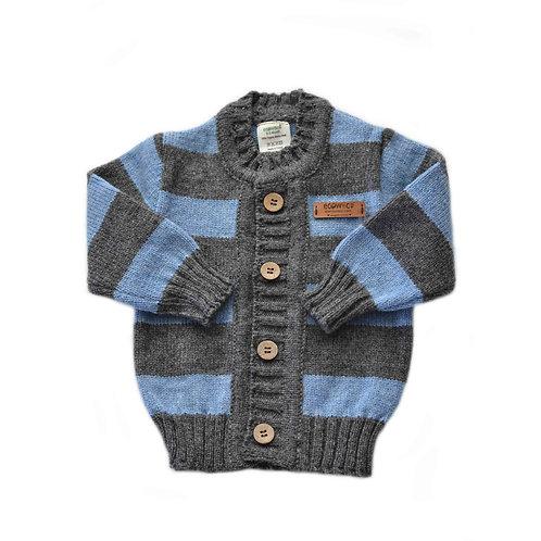 Organic Merino Wool Hand Knit Baby Cardigan Blue & Gray