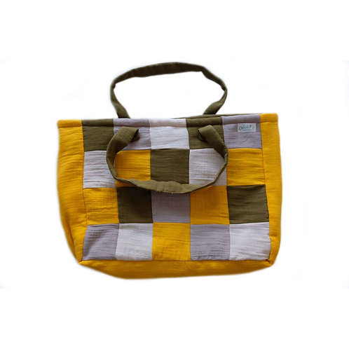Organic cotton mommy bag (yellow & gray)
