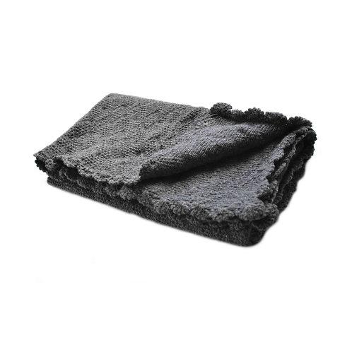 Organic merino wool hand knit baby blanket (gray)