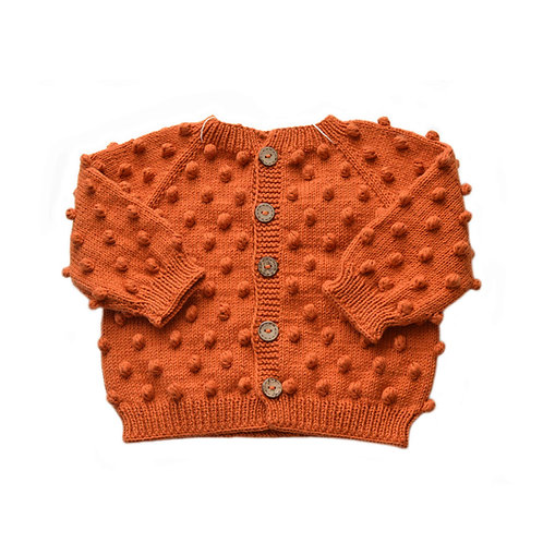 Organic cotton hand knit baby popcorn cardigan cinnamon