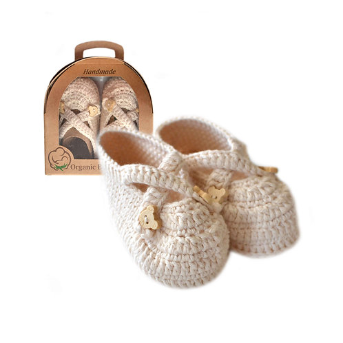 Organic cotton handmade crochet baby shoes with straps natural
