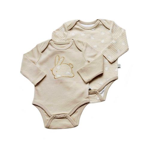 Organic Cotton Baby Bodysuit 2-Pack Long Sleeve Bunny