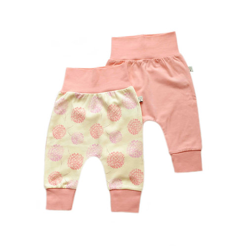 Organic Cotton Baby Pants 2-pack Pink Bloom