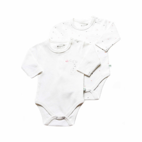 2-pack Organic Cotton Baby Bodysuit Long Sleeve Giraffe