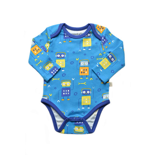 Organic Cotton Baby Bodysuit Long Sleeve Robot