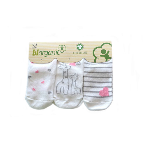 Giraffe 3-pack organic cotton socks