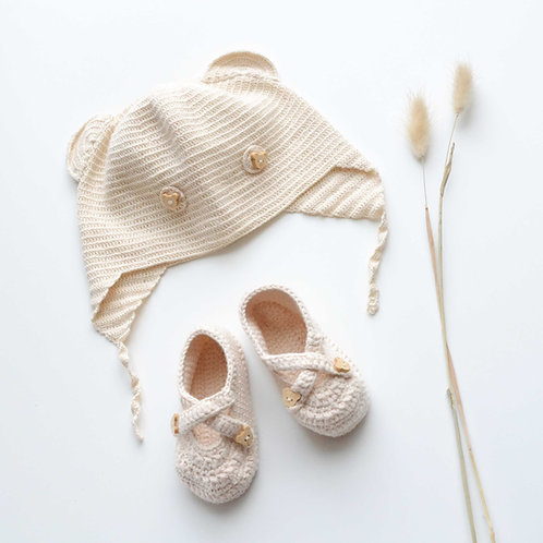 Organic Cotton Hand Knit Baby Bear Hat & Shoes