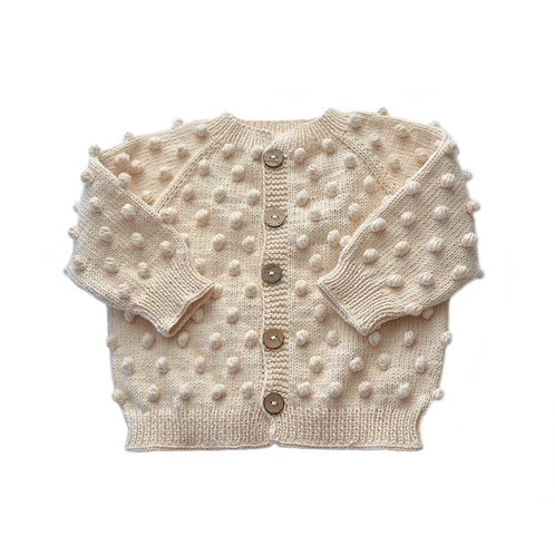 Organic cotton hand knit baby popcorn cardigan natural
