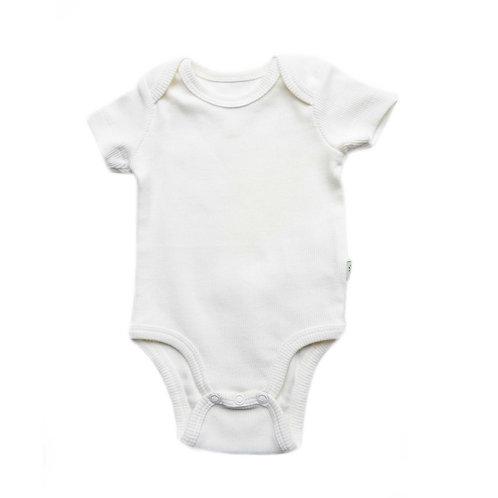 Organic Ribbed Cotton Baby Bodysuit Cosy White