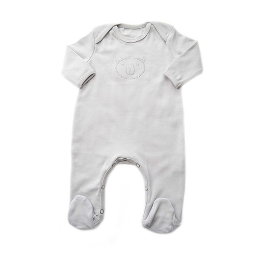 Organic Cotton Baby Jumpsuit Bear Gray