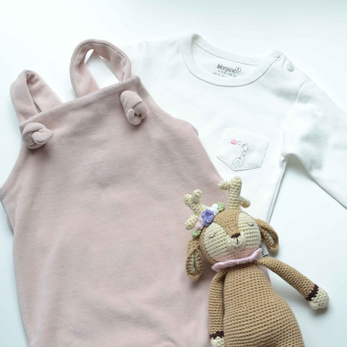 Organic Cotton Velvet Baby Romper & Bodysuit Set