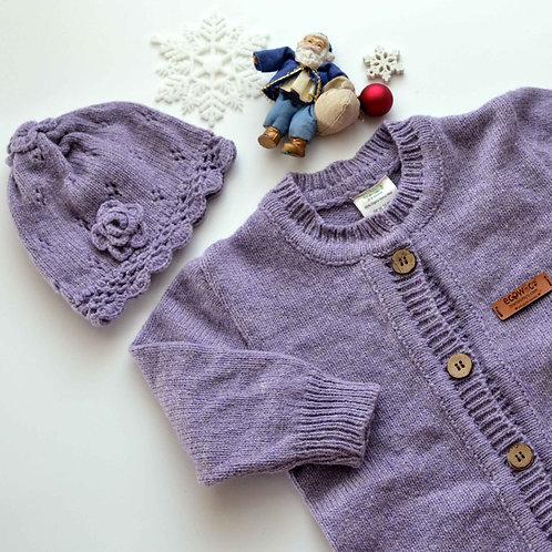 Organic Merino Wool Jumpsuit & Beanie Set Lavender