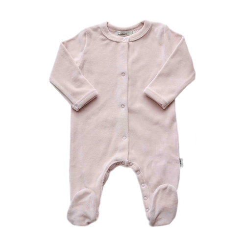 Organic Cotton Velvet Baby Jumpsuit Pink