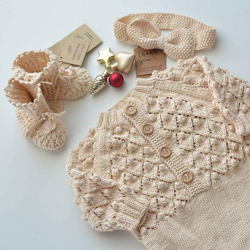 Organic Cotton Hand Knit Romper, Headband & Crochet Shoes Set