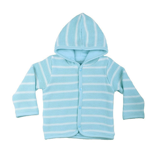 GOTS certified Organic cotton hooded cardigan blue