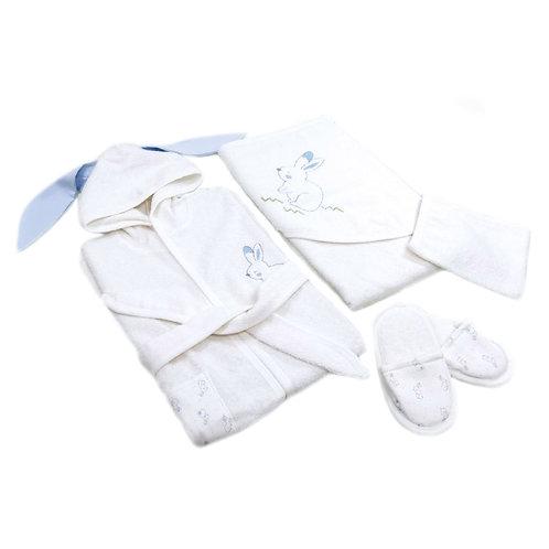 Bunny boy organic cotton 4-piece bathing set