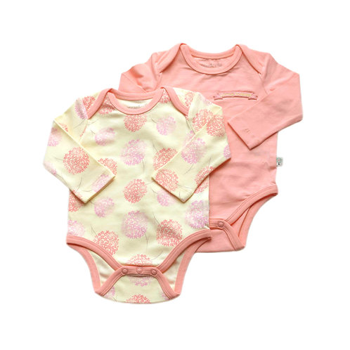 Organic Cotton Baby Bodysuit 2-Pack Long Sleeve Pink Bloom
