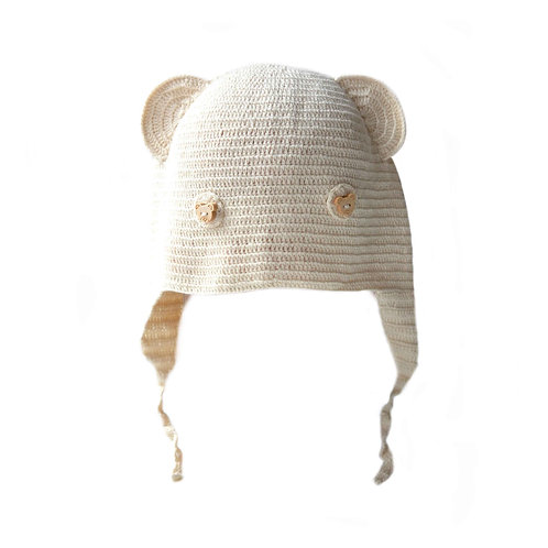 Organic Cotton Hand Knit Baby Bear Hat