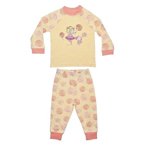 Organic cotton pyjama set with pink bloom print