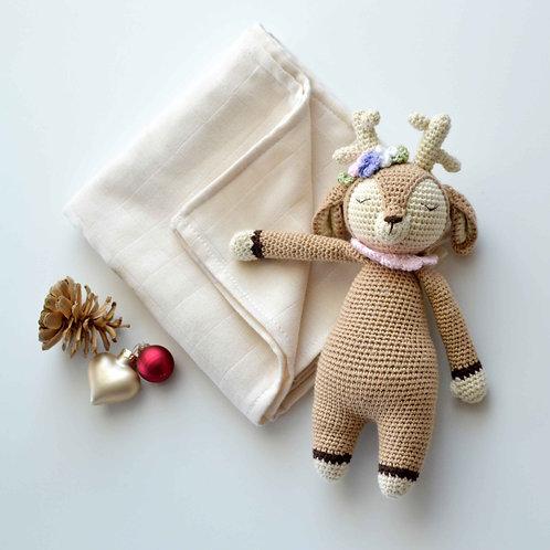 Organic Cotton Amigurumi Toy Deer & Muslin Blanket Set