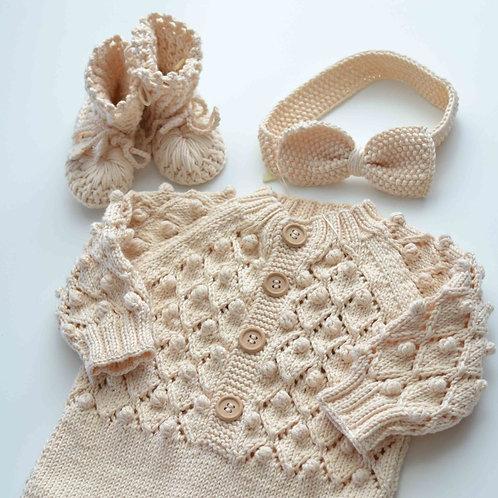 Organic Cotton Hand Knit Baby Romper, Headband & Crochet Shoes Set