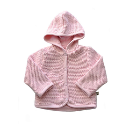 Organic Cotton Baby Cardigan Hooded Pink