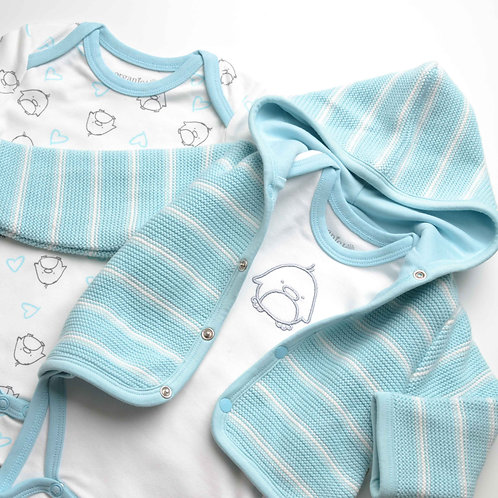 Organic Cotton Baby Cardigan & Penguin 2-pack Body Set