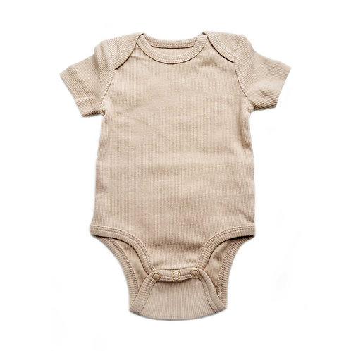 Organic Ribbed Cotton Baby Bodysuit Cosy Biscuit