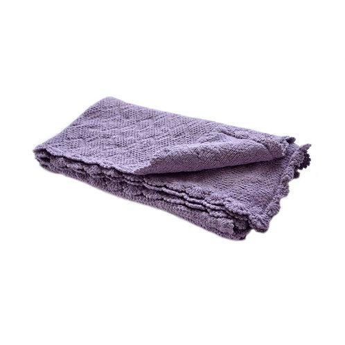 Organic merino wool hand knit baby blanket (lavender)