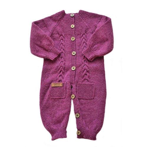 Organic merino wool hand knit baby jumpsuit cherry