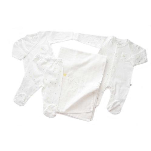 Organic Cotton Baby Newborn Coming Home Set Elephant
